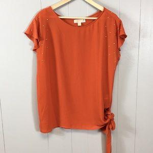 MICHAEL Michael Kors Orange Shortsleeve Blouse L
